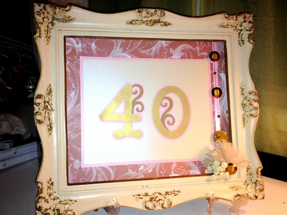 Mayra B, MPLP, framed cake topper, amber, stones
